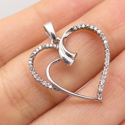 Signed 925 Sterling Silver Real Diamond Open Heart Love Pendant