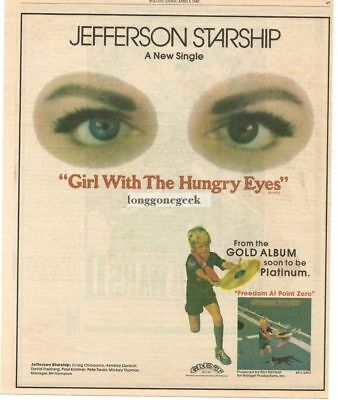 1980 JEFFERSON STARSHIP Girl With The Hungry Eyes Vtg Single Promo Print Ad