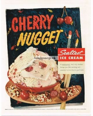 1956 Sealtest Cherry Nugget Ice Cream Vtg Print Ad