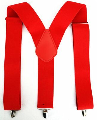 Mens Ladies 50mm Wide Braces Plain Heavy Duty Suspender Elastic Red Trouser