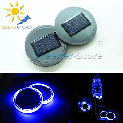 2x Solar Cup Holder Bottom Pad LED Light Cover Trim Car Atmosphere Lamp w/USB