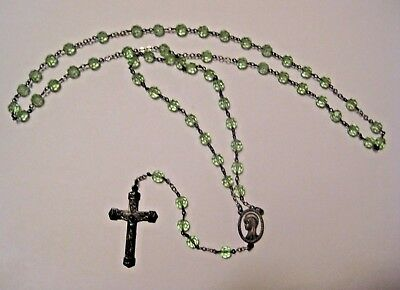 Petite Vintage Sterling Silver Green Glass Religious Rosary ~ Beautiful !