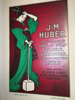 Oriental Lady Japan Huber Ink Co Poster Original Sign Graphic Art 1900