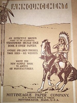Mittineague Massachusetts Poster Original Indian On Horse  Sign Graphic Art 1900