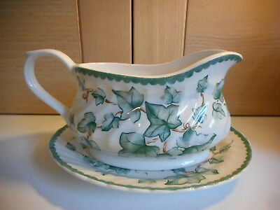 British Home Stores Country Vine Green Ivy Leaves Gravy Sauce Boat And Stand