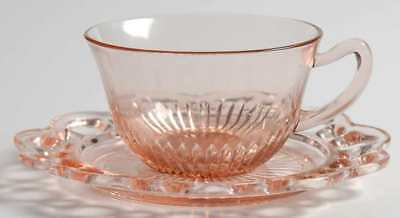 Anchor Hocking LACE EDGE PINK Cup & Saucer 5944