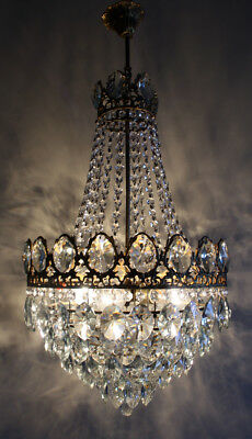 Antique French Basket Style Cast Brass & Crystals LARGE Chandelier from 1950's