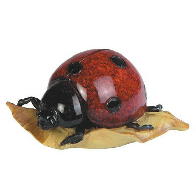 """Red Spotted Ladybug On Leaf Figurine 4.5"""" Long Glossy Finish Resin New In Box!"""