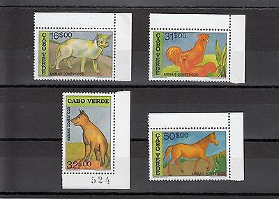 Timbre Stamp  4  Cap Vert Y&t#619-22 Art Animal Chat Neuf**/mnh-Mint 1992 ~A22