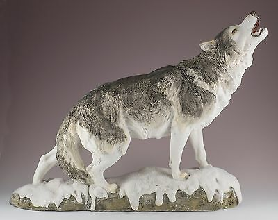 """Standing Wolf Howling Figurine Resin 12.75"""" Long - Highly Detailed - New In Box"""