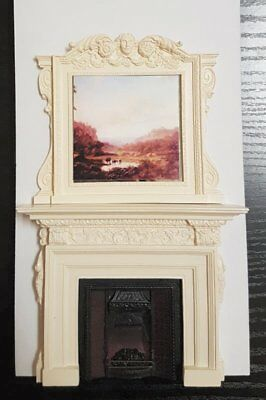 Sue Cook Fireplace with overmantel grate plaster - Camino con focolare gesso PF4