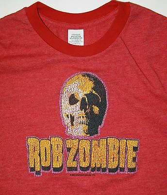 Rob Zombie Skull T Shirt Heathered Red Ringer 2003 Size M