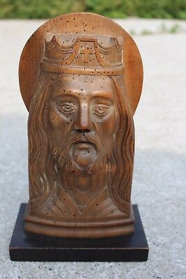 Antique Wooden Wood Carved Sculpted Jesus Christ Bust Head Plaster Statuette