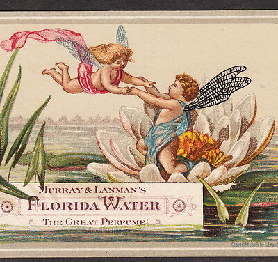 Antique Florida Water 1870's Fairy Perfume Brain Cure Victorian Advertising Card