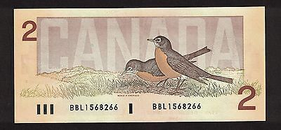 Bank Of Canada 1986 $2 Thiessen Crow Banknote Serial Number Bbl1568266 Au