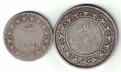 2 X Newfoundland Sterling Silver Coins 1870 20 Cents And 1870 50 Cents