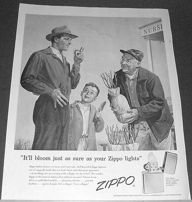 1956 Zippo Lighter Ad nursery garden blooming plant~father/son