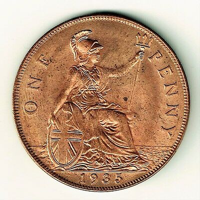 Great Britain Uk British 1935 Penny King George V Bu Red Lustre Bronze Coin