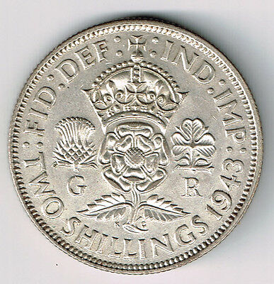 Great Britain 1943 Florin Two Shillings George Vi Foreign Silver Coin Nice Grade