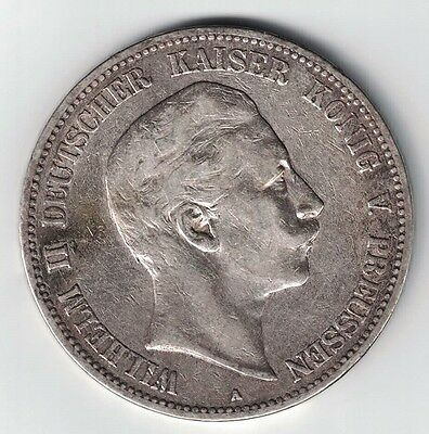 Germany States Prussia 1904 A 5 Mark Wilhelm Ii Imperial Eagle .900 Silver Coin