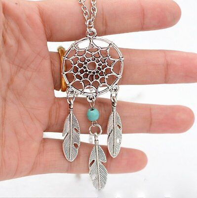 Vintage Retro Dream Catcher Leaf Pendant Charm Choker Necklace Woman Jewelry