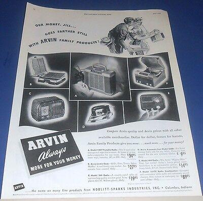 1947 Arvin Radio/Phono lectric cook & iron  Ad ~ apron lady