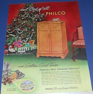 new 1953 Philco Television 2271 Ad ~ Golden Grid Tuner~thrilling Christmas