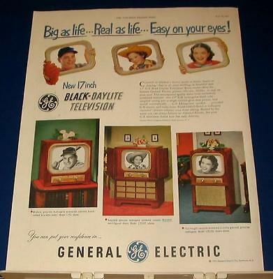 1951 General Electric Television big as life 17 inch Ad