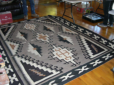 """86 1/2"""" by 113 1/2 [over 7' x 9'] Two Grey Hills Navajo rug  by Ruth Tom Ben"""