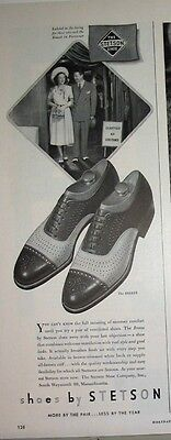 1948 Stetson Ventilated Shoes Advert ~ The Breeze ~ Couple Leave Airconditioning