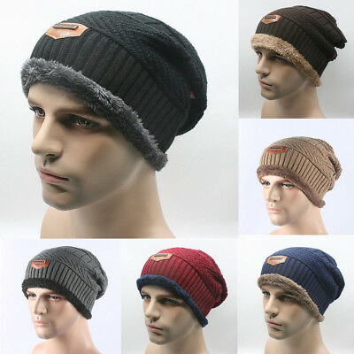 Unisex Women Men Winter Warm Wool Fleece Lined Hat Camping Beanie Baggy Ski Cap