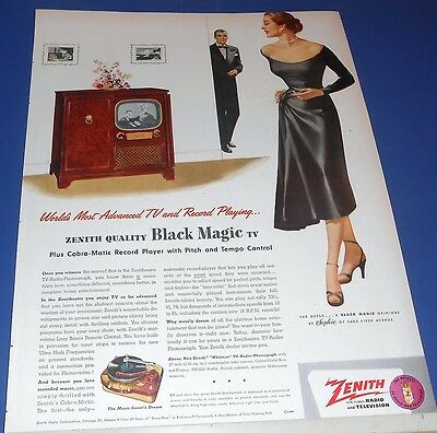 1951 ZENITH Black Magic TV & Record Player Ad woman in black dress by Sophie