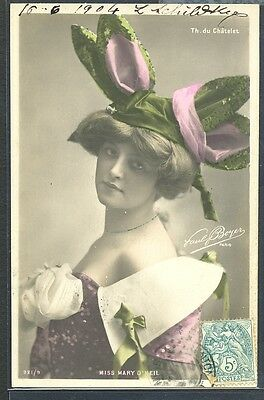 PM162 ARTISTE STAGE STAR Miss MARY O'NEIL FANCY HAT PHOTO D'ART BOYER