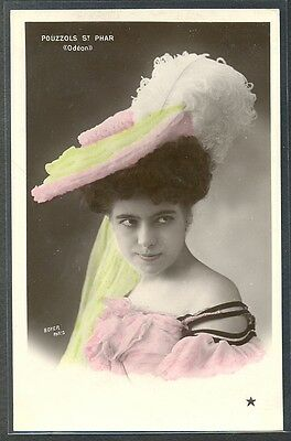 PM159 ARTISTE STAGE STAR POUZZOLS St PHAR FEATHER HAT PHOTO D'ART BOYER