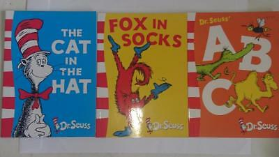 3 x  Dr Seuss Books - The Cat in the hat , ABC ,Fox in Socks - as new