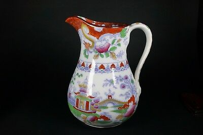 Antique Ironstone Pagoda Asian Pitcher