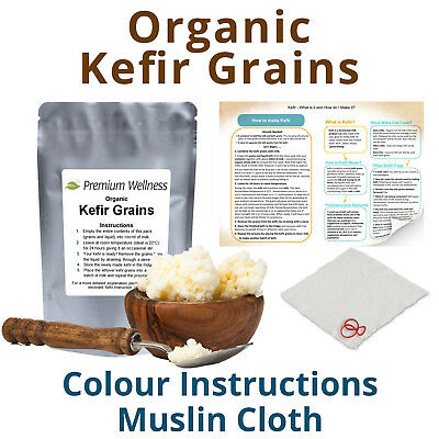 ORGANIC LIVE MILK KEFIR GRAINS, Tibetan Mushroom, Probiotic, Gut Health
