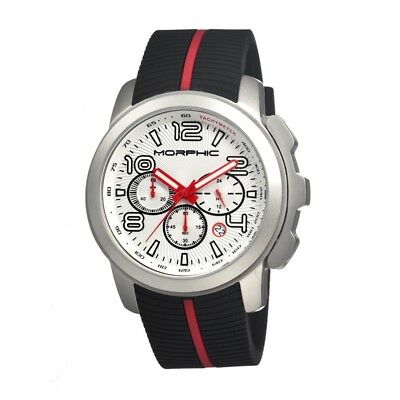 Morphic M22 Series Watch,Black Silicone Band,Red Hand,Silver Bezel,: MPH2201