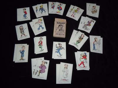 SNAP John Jaques & Son 1920s antique card game 32 square-cut coloured cards box