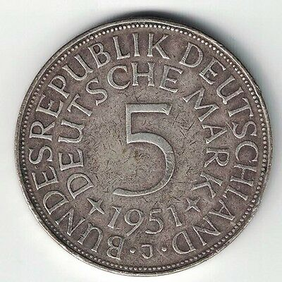 Germany Federal Republic 1951 J 5 Mark Eagle .625 Silver Foreign Coin