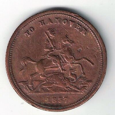 1837 To Hanover 1862 Victoria Queen Of Great Britain Copper Token