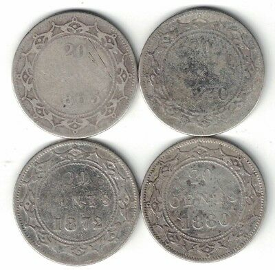 4 X Newfoundland Twenty Cents Victoria Sterling Silver Coins 1865 1870 1872 1880