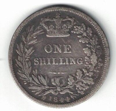 Great Britain 1844 One Shilling Queen Victoria Sterling Silver Coin