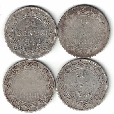 4 X Newfoundland Twenty Cents Victoria Sterling Silver Coins 1872 1880 1888 1894