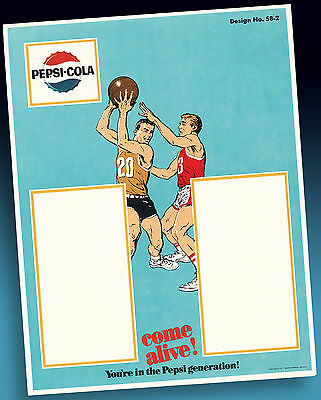 Pepsi Cola | Altes Basketball Highschool Sample Sheet 1965 Seltenes Ordermuster