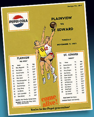 Pepsi Cola | Altes Basketball Highschool Sample Sheet 1965 Xtrarares Ordermuster