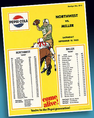 Pepsi Cola | Altes Football Highschool Sample Sheet 1965 Xtra Rares Ordermuster