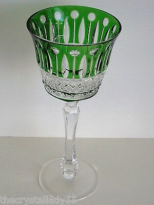 Ajka  Xenia Emerald Cased Cut To Clear Crystal Wine / Water Goblet