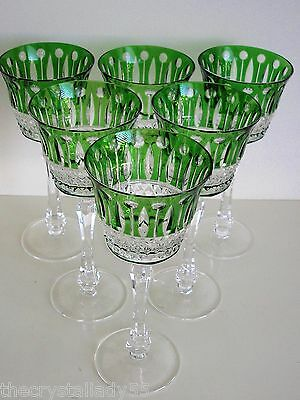 AJKA  XENIA EMERALD CASED CUT TO CLEAR CRYSTAL WINE / WATER GOBLETS Set of 6