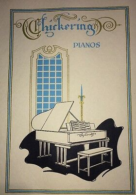 Chickering Piano Boston Music Instrument Orig Graphic Art  Poster 1923